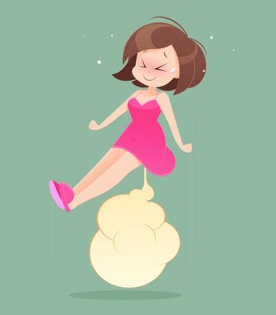 Female wearing skirt, farting, cartoon illustration.