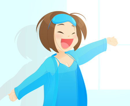 Girl in blue nightgown enjoys sunny morning. Woman wakes up from sleep. Good morning at room. Vector illustration design.