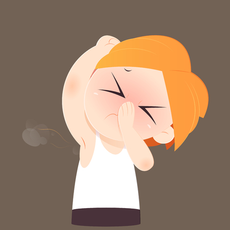 Cartoon man sniffing and smelling his bad smell wet armpit against bown background, Vector illustration