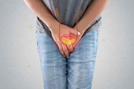 The photo of bladder is on the man's body against gray background. People wants to pee and is holding his bladder. Urinary incontinence concept Stock Photo