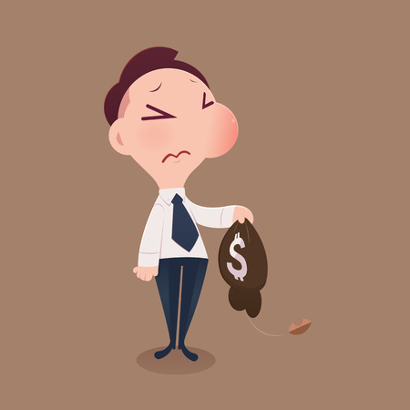 Cartoon businessman loss money, Vector and Illustration. Çizim
