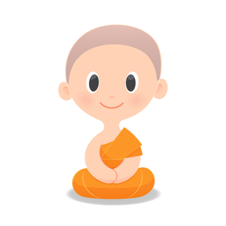 Cartoon Buddhist Monk Of Southeast Asia. Meditation, Isolate on white background