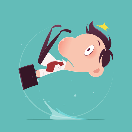 Cartoon businessman slipped on a water puddle , Illustration-Vector Ilustração