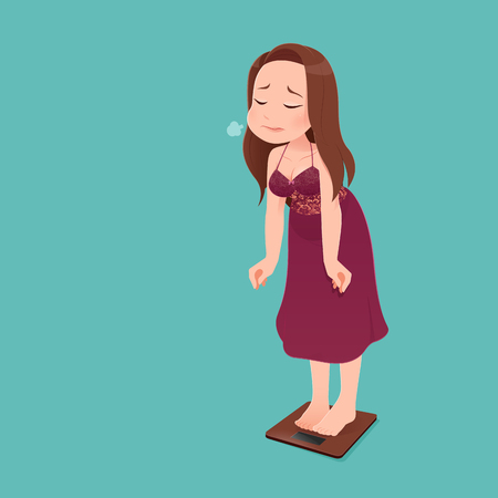 Woman character in long red nightwear with scale unhappy with her weight gesturing sadness and worry against green background. Vector flat cartoon illustration. Ilustração