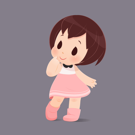 The cute girl is looking for something or doubt against gray background, Illustration-Vector