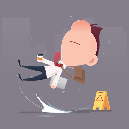 Businessman character slipped on a water puddle , Man slips on wet floor , Vector flat cartoon illustration Çizim
