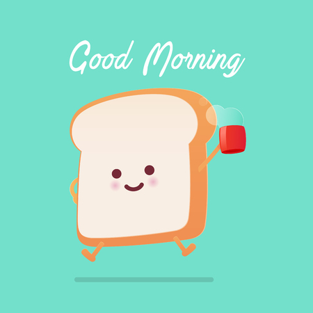 Good morning greeting on toasted bread cartoon against green background. Vector flat cartoon illustration Çizim