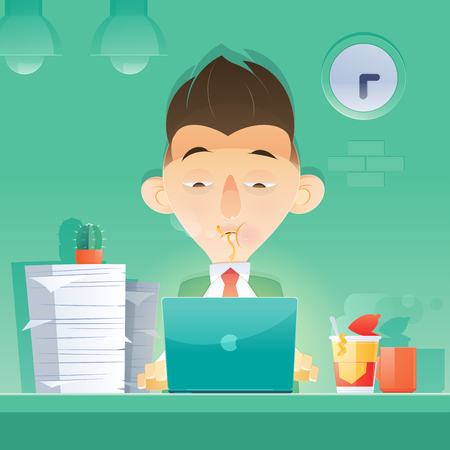 Cartoon businessman working overtime late night in office. Eating at Night. Vector and Illustration. Çizim
