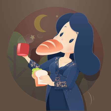 Illustration woman in blue nightwear and lace robe eating at night. Night hunger, Drinking coffee, Cartoon-Vector