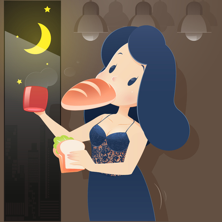 Illustration woman in blue nightwear eating at night. Night hunger, Drinking coffee, Cartoon-Vector Illustration