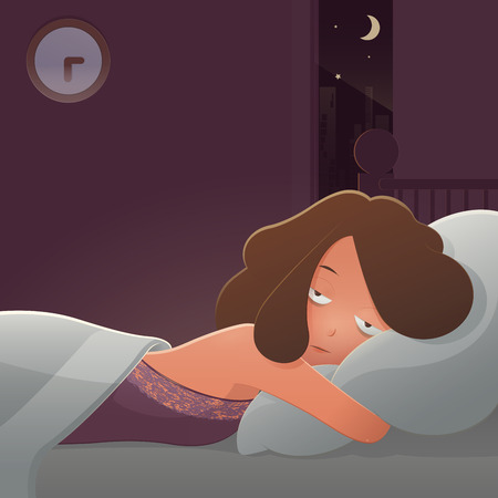 Cartoon depressed man suffering from insomnia lying in bed. Sleepless people in nightwear sick blanket person bedding awake with dark tired sadness face, Cartoon vector and illustration