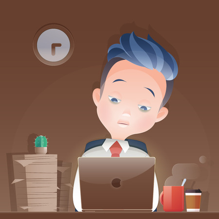 Cartoon businessman working overtime late night  in office Illustration.