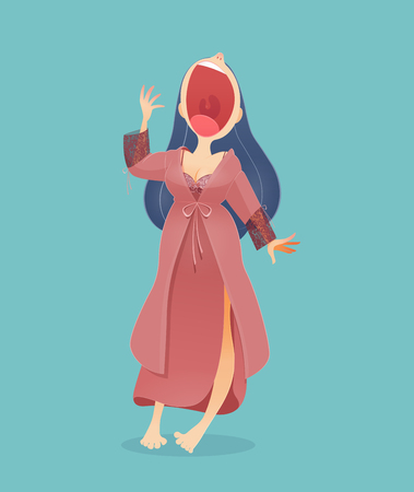 Cartoon woman in nightwear and robe standing yawn against blue background Illustration