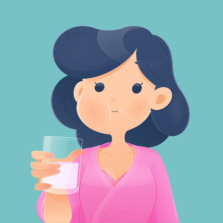 Healthy happy woman rinsing and gargling while using mouthwash from a glass. During daily oral hygiene routine. Dental Health Concept