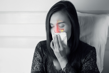 Women Feeling Unwell And Sinus. Dust allergies. Flu. People caught cold and allergy. Stok Fotoğraf