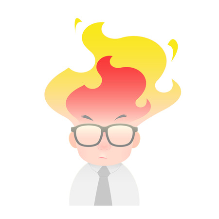 Illustration of an angry businessman, Men head is on fire, isolated on white background.