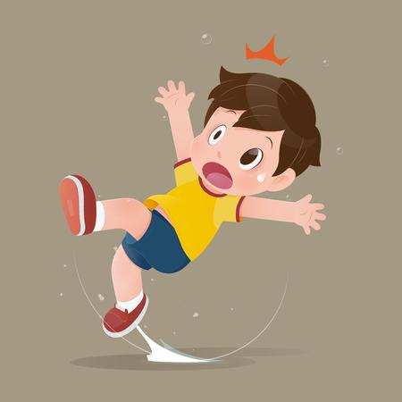 El niño de dibujos animados de la camisa amarilla se siente conmocionado porque se resbala en un charco en el suelo. La ilustración del niño tiene un accidente resbaladizo en el piso mojado. Concepto con diseño vectorial Ilustración de vector