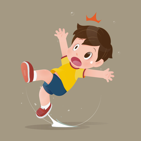 The yellow shirt cartoon boy feel shock because slipping in a puddle on the floor. illustration of child have accident slippery on the wet floor. Concept with vector design Vektoros illusztráció