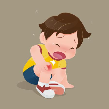 Der Junge im gelben Hemd leidet unter Schmerzen im Knie, die Illustration des Kindes hat einen Unfall, der auf dem Boden rutscht, ein trauriges Kind mit Prellungen am Knie