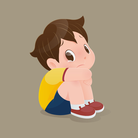 Illustration of a boy in a yellow shirt sitting crying on the floor, Cartoon kid sitting alone with sad feeling at home, Tears, Concept with vector design
