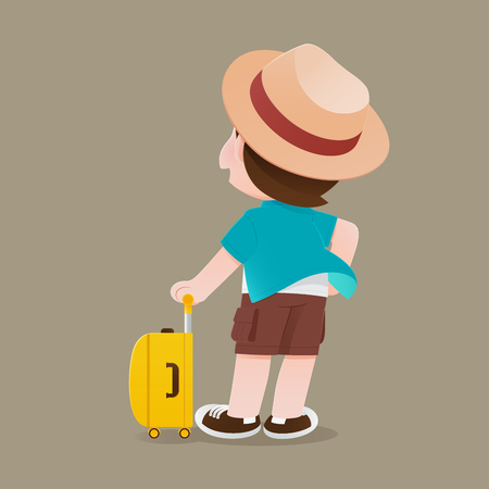 Illustration tourist man in blue shirt and hat stand back side with his yellow luggage, Happy people tourist holding baggage, Concept with vector design