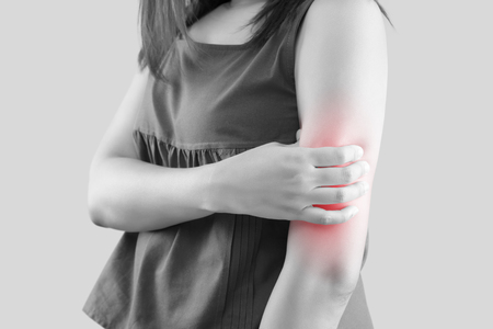 Upper arm pain, People with body-muscles problem, Healthcare And Medicine concept Stok Fotoğraf