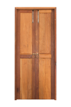 Frontal image of a closed wood door isolated on a white background, Solid Wood Front Entry Double Doors, Wooden doors manufactured in Thailand. Stok Fotoğraf