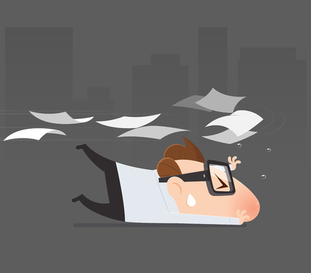 Cartoon businessman avoid from expenditure, Tax return, Vector illustration 일러스트