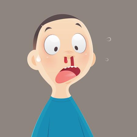 Krwawienie z nosa, kreskówka chłopiec krwawi z nosa, ilustracja i wektor