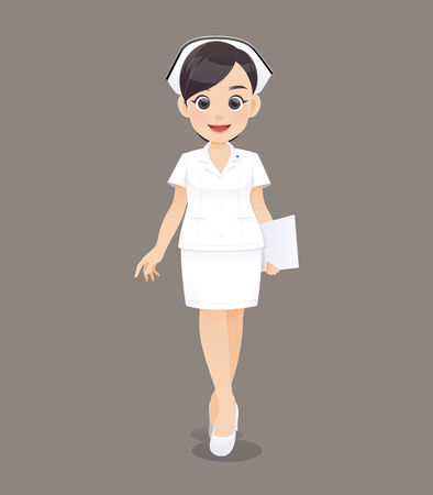 Cartoon woman doctor or nurse in white uniform holding a clipboard, Smiling female nursing staff, Vector illustration in character design Standard-Bild - 124396204