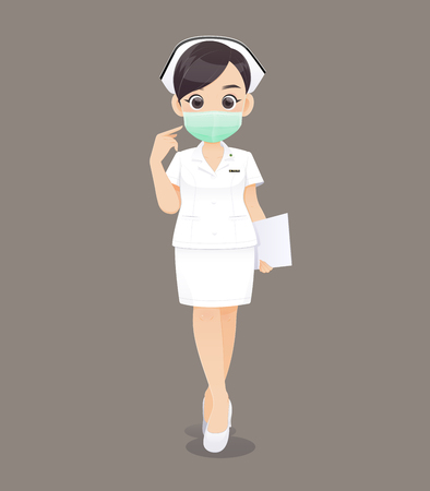Die Krankenpflege trägt eine Schutzmaske, eine Karikaturärztin oder eine Krankenschwester in weißer Uniform, die eine Zwischenablage hält, Vektorillustration im Charakterdesign