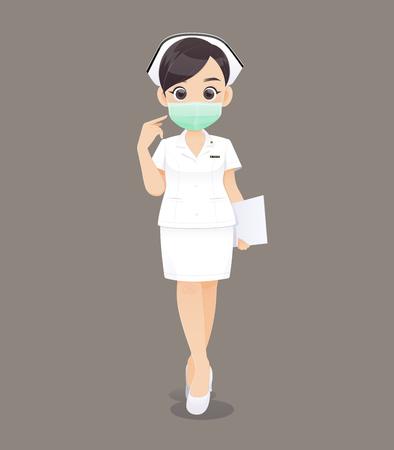 Enfermería lleva una máscara protectora, médico o enfermera de dibujos animados en uniforme blanco sosteniendo un portapapeles, ilustración vectorial en diseño de personajes