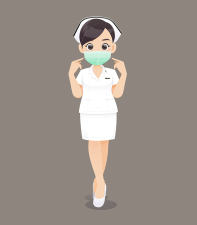 Nursing wears a protective mask, Cartoon woman doctor or nurse in white uniform on brown background, Vector illustration in character design Çizim