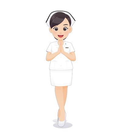 Cartoon donna medico o infermiere in uniforme bianca che tiene un blocco per appunti, Sawadee, personale infermieristico femminile sorridente su sfondo bianco, illustrazione vettoriale nel design del personaggio Vettoriali