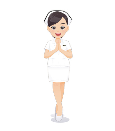 Cartoon woman doctor or nurse in white uniform holding a clipboard, Sawadee, Smiling female nursing staff on white background, Vector illustration in character design