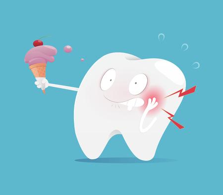 La dent d'illustration mangeant de la crème glacée rend les dents sensibles, le concept avec la santé dentaire, le vecteur et le dessin animé