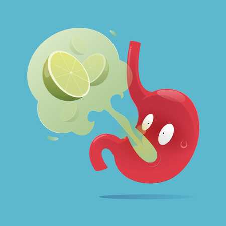 Vector illustration of the stomach with symptoms of burping, Gastroesophageal Reflux Disease