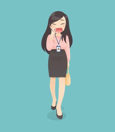 La donna in abito da lavoro sta sbadigliando mentre sta andando in ufficio, illustrazione vettoriale nel design del personaggio