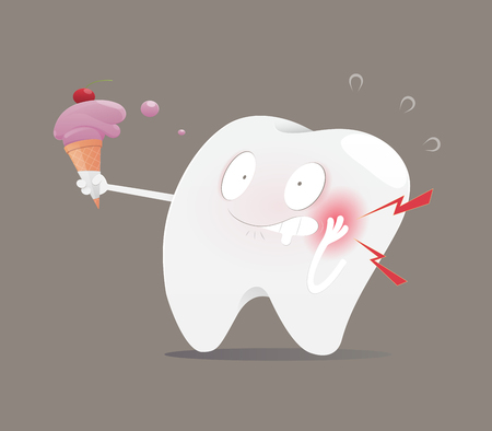 Illustration tooth eating ice cream make sensitive teeth, The concept with dental health, Vector and Cartoon