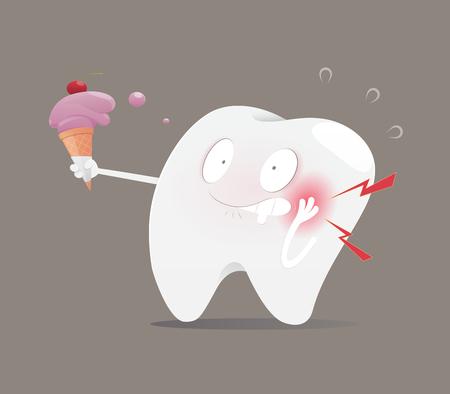 La dent d'illustration mangeant de la crème glacée rend les dents sensibles, le concept avec la santé dentaire, le vecteur et le dessin animé Vecteurs