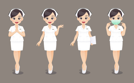 Nurs collection, Cartoon woman doctor or nurse in white uniform on brown background, Vector illustration in character design