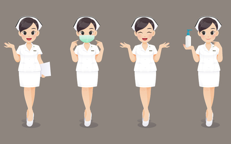 Nurse collection, Cartoon woman doctor or nurse in white uniform on brown background, Vector illustration in character design