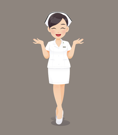 Cartoon woman doctor or nurse in white uniform on brown background, Smiling female nursing staff, Vector illustration in character design Çizim