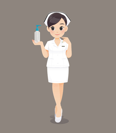 Cartoon woman doctor or nurse in white uniform on brown background, Smiling female nursing staff, Vector illustration in character design