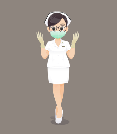 Female nursing wearing medical gloves and wearing a health mask, Cartoon woman doctor or nurse wearing black glasses in a white uniform on a brown background, Vector illustration in character design Çizim