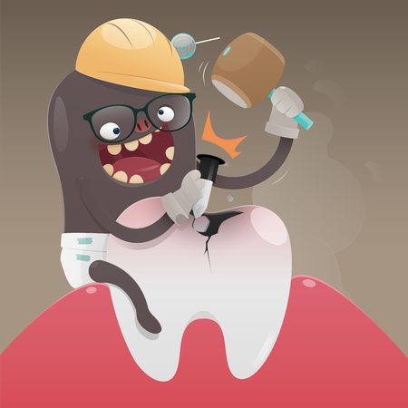 The bad monster is digging and damaging the tooth, A toothache is caused by tooth decay, Cartoon vector, Concept with tooth health