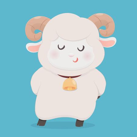 Cute sheep smiling, Vector flat line cartoon character illustration design