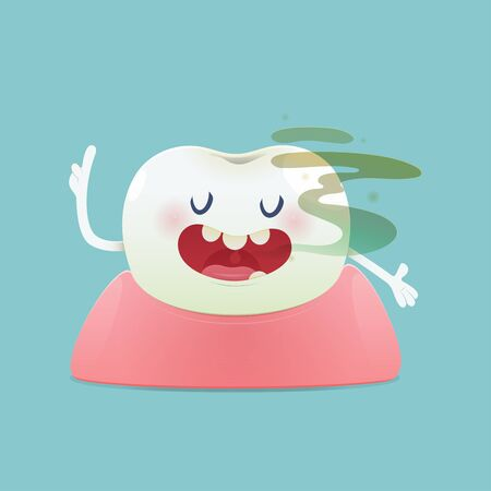 Halitosis concept of cartoon tooth with bad breath on the green background -  Total health and Dental problems - illustration and vector design Banco de Imagens - 132125368