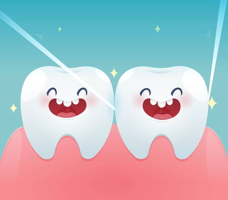 Cartoon teeth with dental floss for healthcare - Brushing teeth flossing, Dental floss - illustration and vector design