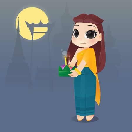 Cartoon Woman With Loy Krathong Festival, Culture in Thailand, Illustration thailand full moon traditional festival